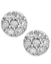 Macy's - Diamond Cluster Stud Earrings In 10k White Gold (1/4 Ct. T.w.) - Lyst