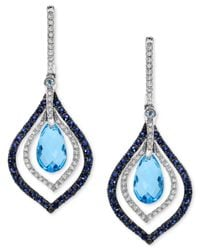 Effy Collection | Blue Topaz And Sapphire (4-5/8 Ct. T.w.) And Diamond (1/3 Ct. T.w.) Drop Earrings In 14k White Gold | Lyst