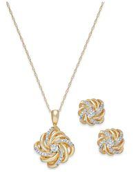 Macy's - Metallic Diamond Love Knot Jewelry Set In 10k Gold (1/10 Ct. T.w.) - Lyst