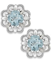 Macy's | Multicolor Aquamarine (1/2 Ct. T.w.) And Diamond Accent Earrings In 14k White Gold | Lyst