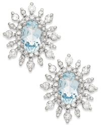 Macy's | Blue Aquamarine (3/8 Ct. T.w.) And Diamond (3/8 Ct. T.w.) Earrings In 14k White Gold | Lyst
