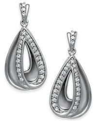 Macy's - Metallic Diamond Teardrop Earrings In Sterling Silver (1/4 Ct. T.w.) - Lyst
