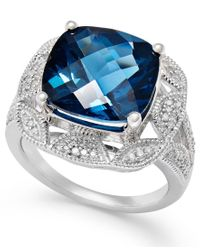 Macy's | London Blue Topaz (7 Ct. T.w.) And Diamond (1/7 Ct. T.w.) Ring In Sterling Silver | Lyst