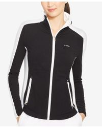 Lauren by Ralph Lauren | Black Colorblocked Full-zip Jacket | Lyst