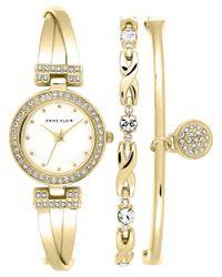 Anne Klein - Metallic Women's Gold-tone Bracelet Watch Set 24mm Ak/1868gbst - Lyst