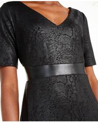 INC International Concepts Black Inc Animal-print & Faux-leather Sheath Dress, Created For Macy's