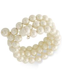 Carolee - White Gold-tone Imitation Pearl Multi-row Bracelet - Lyst