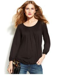 Michael Kors | Black Michael Petite Scoop-neck Peasant Top | Lyst