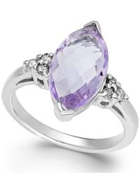 Macy's Metallic Pink Amethyst (3 Ct. T.w.) And Diamond (1/8 Ct. T.w.) Ring In 14k White Gold