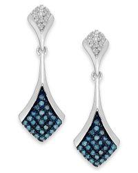 Macy's | Blue And White Diamond Drop Earrings In Sterling Silver (1/5 Ct. T.w.) | Lyst