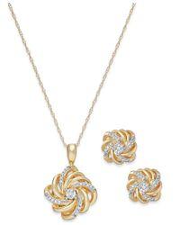 Macy's | Red Diamond Love Knot Jewelry Set In 10k Gold (1/10 Ct. T.w.) | Lyst