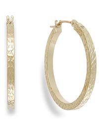 Macy's   Metallic Diamond-cut Hoop Earrings In 10k Gold   Lyst