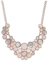 INC International Concepts   Pink Rose Gold-tone Round Stone Frontal Bib Necklace   Lyst