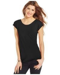 Style & Co.   Black Scoop-neck T-shirt, Only At Macy's   Lyst