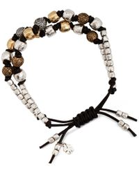 Lucky Brand | Metallic Two-tone Leather Beaded Bracelet | Lyst