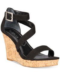 Charles by Charles David | Black Leanna Platform Wedge Sandals | Lyst