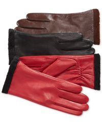 Charter Club Red Micro Faux Fur Lined Leather Tech Gloves