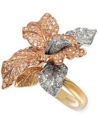 Effy Collection | Metallic Effy Diamond Tri-tone Flower Ring In 14k Gold (2-5/8 Ct. T.w.) | Lyst