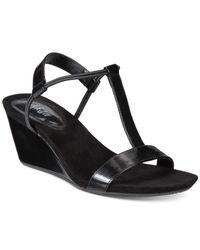 Style & Co. | Black Mulan Wedge Sandals | Lyst
