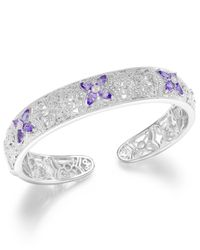 Macy's - Metallic Tanzanite (2 Ct. T.w.) And Diamond Accent Cuff Bracelet In Sterling Silver - Lyst