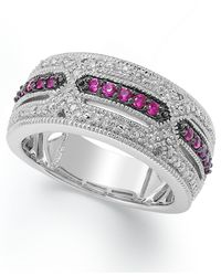 Macy's - Metallic Ruby (1/4 Ct. T.w) And Diamond Accent Band In Sterling Silver - Lyst