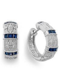 Macy's | Blue Sapphire (3/4 Ct. T.w.) And Diamond Accent Hoop Earrings In Sterling Silver | Lyst