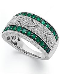 Macy's | Green Emerald (1/2 Ct. T.w.) And Diamond Accent Antique Band In Sterling Silver | Lyst