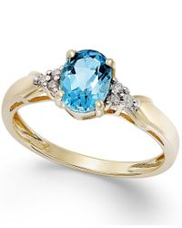 Macy's - Blue Topaz (3/4 Ct. T.w.) And Diamond Accent Ring In 10k Gold - Lyst