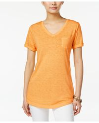 Style & Co. | Orange V-neck Burnout Pocket Tee, Only At Macy's | Lyst