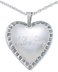 Macy's | Metallic Diamond Accent Love Story Heart Pendant Necklace In Sterling Silver | Lyst