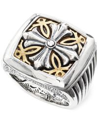 Effy Collection | Metallic Men's Cross Ring In Brass And Sterling Silver for Men | Lyst