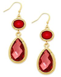 Style & Co. | Pink Style&co. Gold-tone Coral Crystal Double Drop Earrings | Lyst