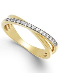 Macy's | Metallic Diamond (1/10 Ct. T.w.) Crossover Ring In 10k Gold | Lyst