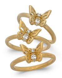 Kate Spade - Metallic Gold-tone 3-pc. Set Crystal Butterfly Stackable Rings - Lyst
