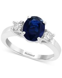 Effy Multicolor Sapphire (1-9/10 Ct. T.w.) & Diamond (3/8 Ct. T.w.) Engagement Ring In 18k White Gold