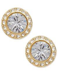 Swarovski | Metallic Earrings, Gold-tone Crystal Circle Stud | Lyst