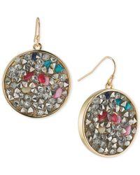 ABS By Allen Schwartz | Metallic Gold-tone Mixed Stone Drop Earrings | Lyst