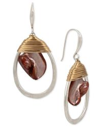 Robert Lee Morris - Metallic Two-tone Red Mother-of-pearl Stone Wrapped Drop Earrings - Lyst
