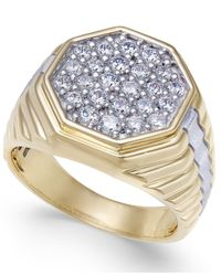 Macy's Metallic Men's Diamond Two-tone Octagon Cluster Ring (1 Ct. T.w.) In 10k & Rhodium-plate