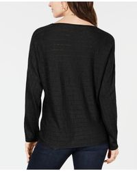 Style & Co. Black Boat-neck Dolman-sleeve Sweater, Created For Macy's