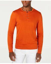 Alfani Orange Stretch Henley, Created For Macy