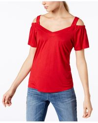 INC International Concepts - Red Petite Cold-shoulder Jersey Top, Created For Macy's - Lyst