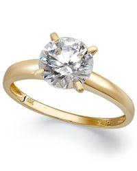 Arabella Metallic 14k Gold Swarovski Zirconia Solitaire Ring (3-1/2 Ct. T.w.)