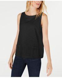 Eileen Fisher Black Cotton Sleeveless Boat-neck Top, Regular & Petite