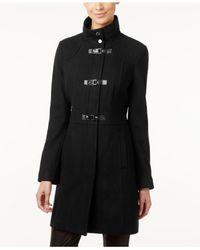Kenneth Cole Black Faux-leather-trim Buckle-front Walker Coat
