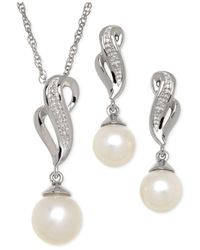 Macy's Metallic Cultured Freshwater Pearl (7-8mm) And Diamond Accent Jewelry Set In Sterling Silver