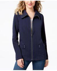 Karen Scott Blue Petite Wing Collar Zip Jacket, Created For Macy's