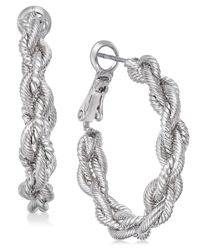 Charter Club - Metallic Gold-tone Braid Hoop Earrings, Created For Macy's - Lyst