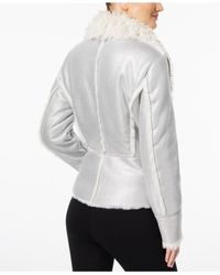 INC International Concepts - Metallic Petite Faux-suede Aviator Jacket With Faux-fur Trim - Lyst