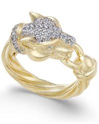 Macy's - Metallic Panther Swarovski Zirconia Statement Ring - Lyst
